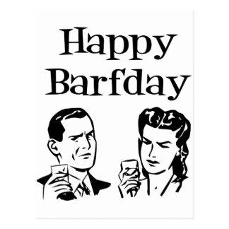 Happy Barfday Retro Man & Woman B&W Postcard