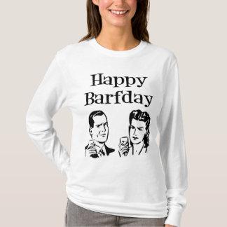 Happy Barfday Retro Man & Woman B&W T-Shirt