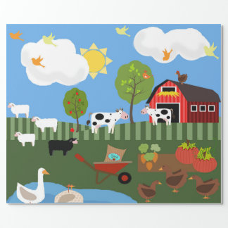 Happy Barnyard Animals Scene (Med. & Lg. Images) Wrapping Paper