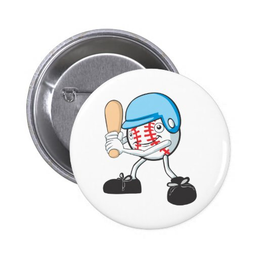 Happy Baseball Player 2 Inch Round Button