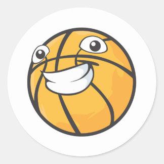 Happy Basketball Classic Round Sticker