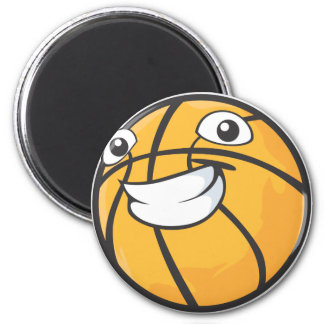 Happy Basketball 2 Inch Round Magnet
