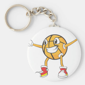 Happy Basketball Player in a Defense Position Basic Round Button Keychain