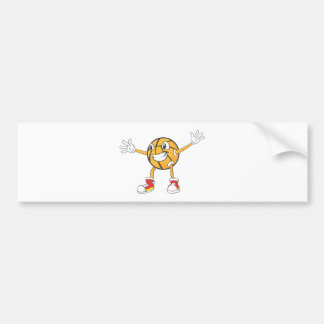 Happy Basketball Player in a Defense Position Bumper Sticker