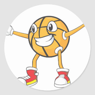 Happy Basketball Player in a Defense Position Classic Round Sticker