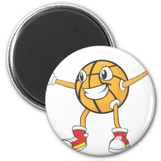 Happy Basketball Player in a Defense Position 2 Inch Round Magnet