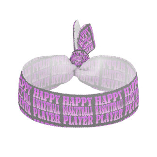 Happy Basketball Player in Bright Colors Ribbon Hair Tie