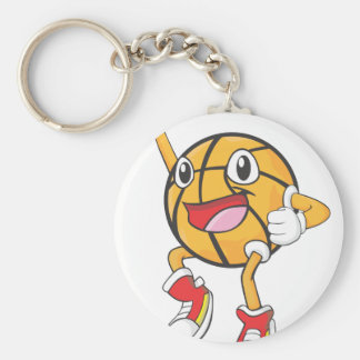 Happy Basketball Player Jumping Basic Round Button Keychain