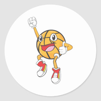 Happy Basketball Player Jumping Classic Round Sticker