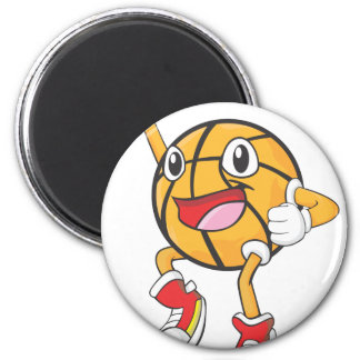 Happy Basketball Player Jumping 2 Inch Round Magnet