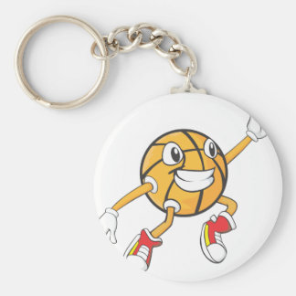 Happy Basketball Player Making a Block Basic Round Button Keychain