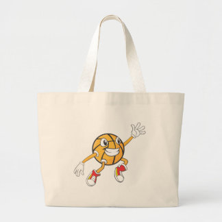 Happy Basketball Player Making a Block Large Tote Bag