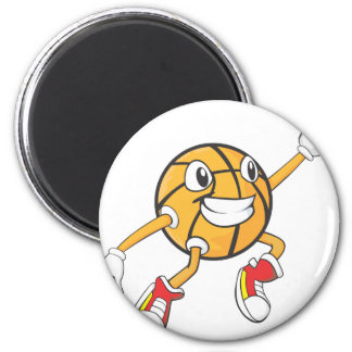 Happy Basketball Player Making a Block 2 Inch Round Magnet