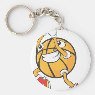 Happy Basketball Player Making a Shot Basic Round Button Keychain