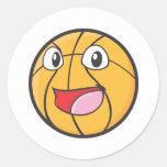 Happy Basketball Round Stickers