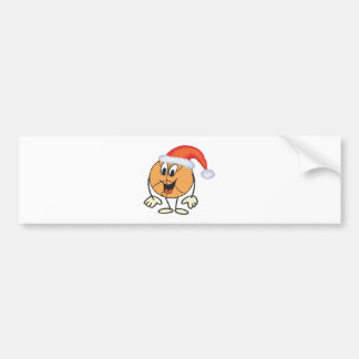 Happy basketball smiley  wearing a santa hat bumper sticker