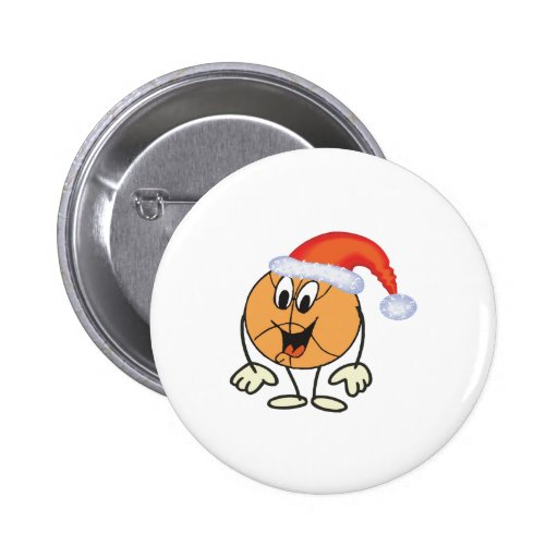 Happy basketball smiley  wearing a santa hat pinback button