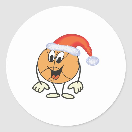 Happy basketball smiley  wearing a santa hat classic round sticker