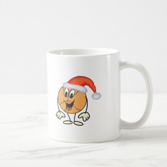 Happy basketball smiley  wearing a santa hat coffee mug