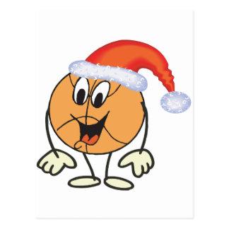 Happy basketball smiley  wearing a santa hat postcard