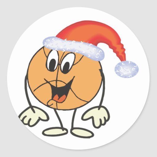 Happy basketball smiley  wearing a santa hat stickers