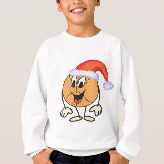 Happy basketball smiley  wearing a santa hat sweatshirt
