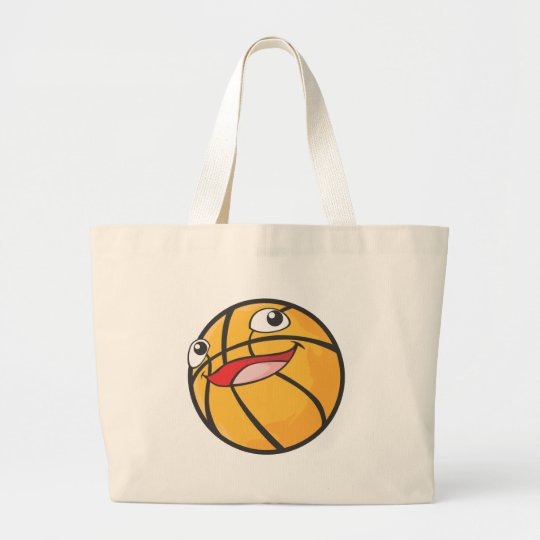 Happy Basketball Sports Ball Smiling Large Tote Bag