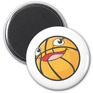 Happy Basketball Sports Ball Smiling 2 Inch Round Magnet