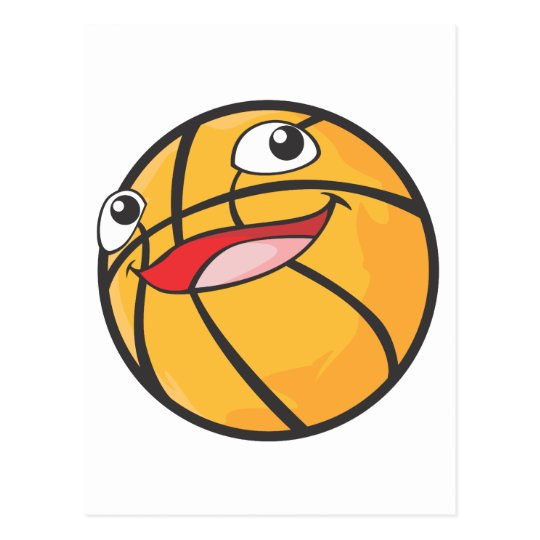 Happy Basketball Sports Ball Smiling Postcard