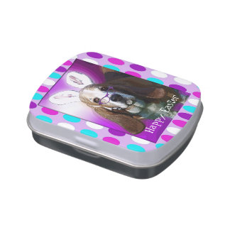 Happy Basset Hound Easter Candy Tin w/Candy