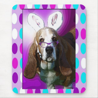 Happy Basset Hound Easter Mouse Pad