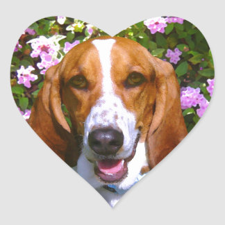Happy Basset Hound Heart Sticker