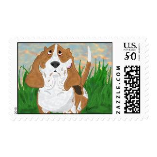 Happy Basset Hound Postage Stamp