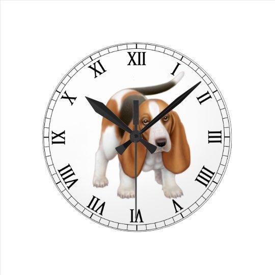 Happy Basset Hound Wall Clock