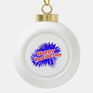 Happy Bastille Day Graphic Ceramic Ball Christmas Ornament