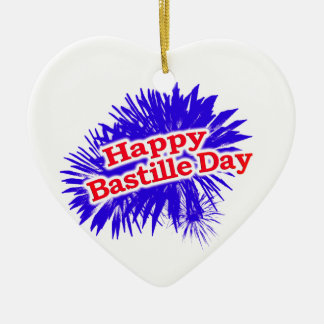 Happy Bastille Day Graphic Logo Ceramic Ornament