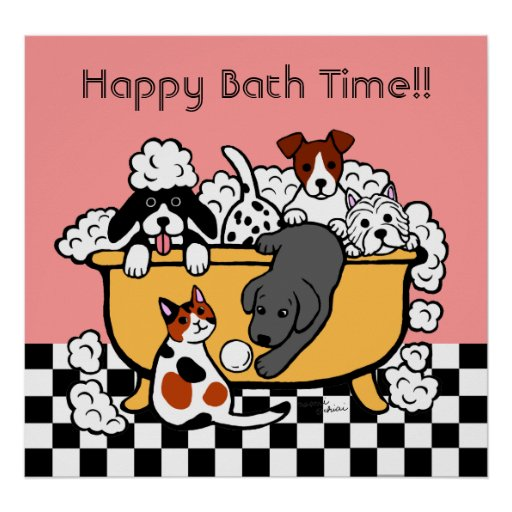 Happy Bath Time Black Labrador Cartoon Poster