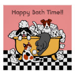 Happy Bath Time Black Labrador Cartoon Posters