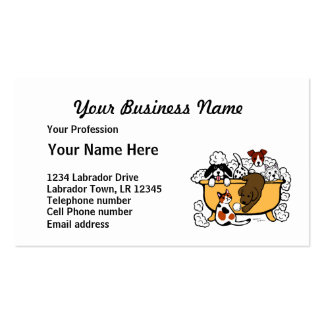 Happy Bath Time Chocolate Labrador Cartoon Double-Sided Standard Business Cards (Pack Of 100)