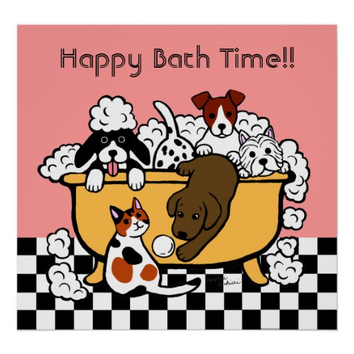 Happy Bath Time Chocolate Labrador Cartoon Poster