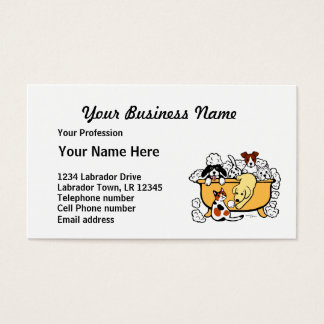 Happy Bath Time Yellow Labrador Cartoon Business Card