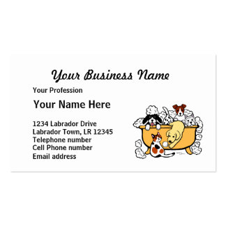 Happy Bath Time Yellow Labrador Cartoon Double-Sided Standard Business Cards (Pack Of 100)
