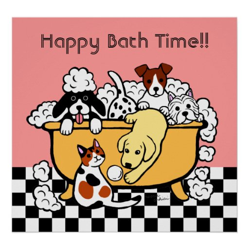 Happy Bath Time Yellow Labrador Cartoon Poster