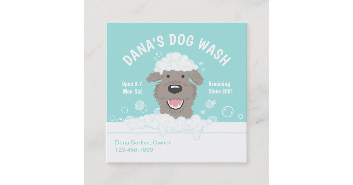 Happy Bathtub Dog | Dog Grooming | Cute Dog Square Business Card ...