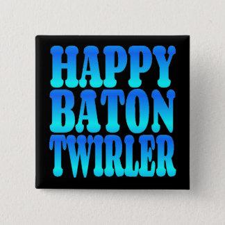 Happy Baton Twirler in Blue Button