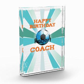 Happy Bday Soccer Coach Orange/Teal/Blue Starburst Acrylic Award