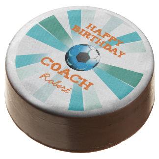 Happy Bday Soccer Coach Orange/Teal/Blue Starburst Chocolate Covered Oreo
