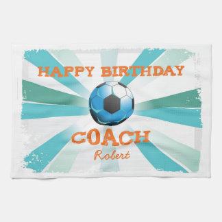 Happy Bday Soccer Coach Orange/Teal/Blue Starburst Kitchen Towel