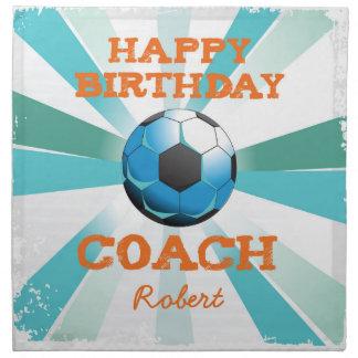 Happy Bday Soccer Coach Orange/Teal/Blue Starburst Napkin