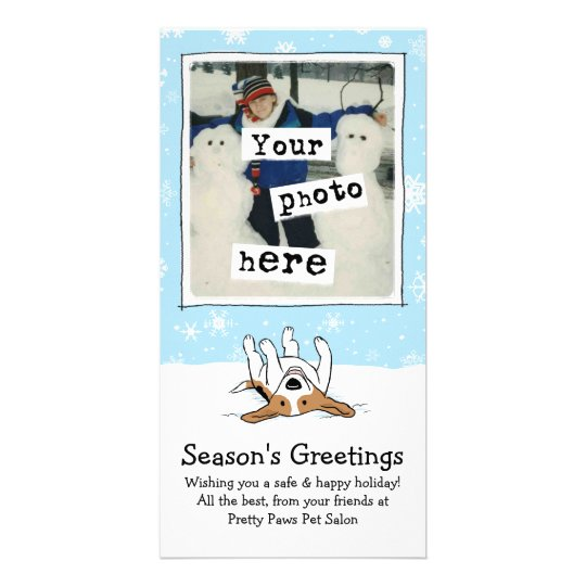 Happy Beagle in the Snow Card